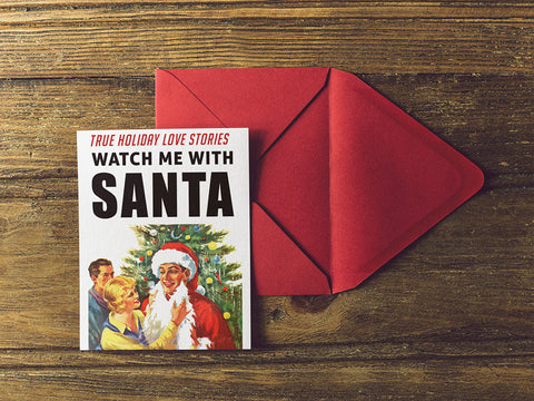Hotwife Cuckold Swingers Santa Holiday Card - Single Card