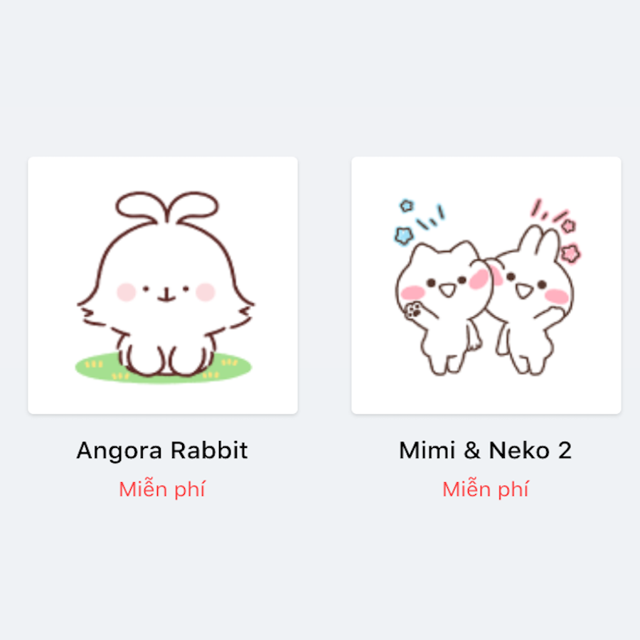 【News】MiMiNeKo and Angora rabbit stickers on Zalo!