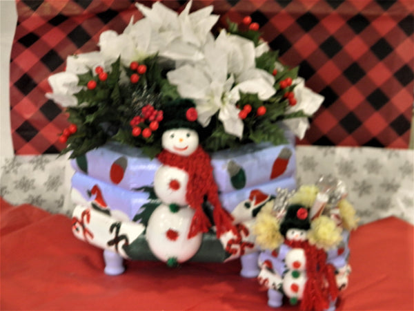 Custom Christmas Snowman Centerpieces