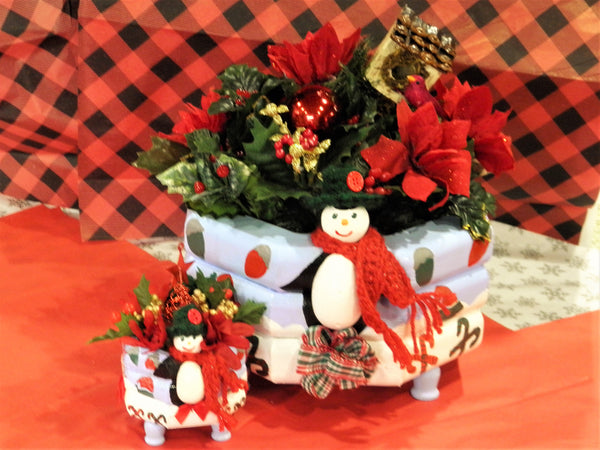 Custom Christmas Penguin Centerpieces