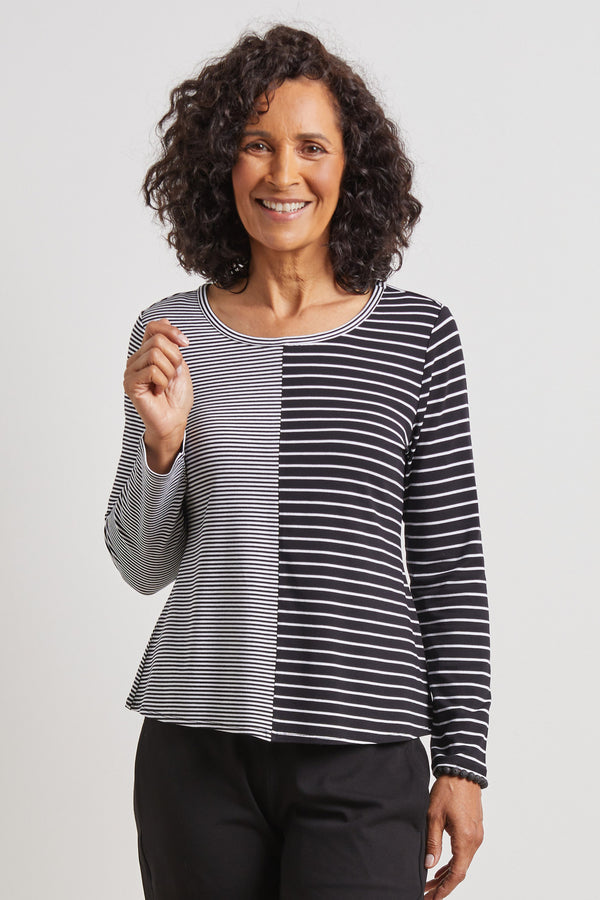 Dawn Stripe Top | We love the mixing companion stripes especially in our travel fabric.  Black and white stripe  3/4 sleeve  Machine washable  Small - Extra Large