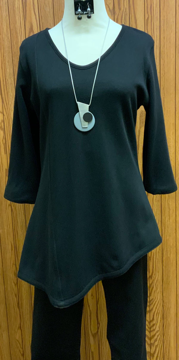 Eve Reversible Top | 3/4 sleeve  Reversible  Soft knit material  Loden (greenish gray) / Black  Machine washable   Small - 3X