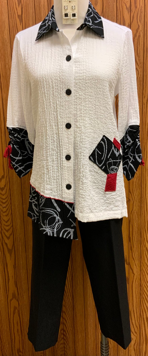 Skylar Blouse | It's all about detail in this mixed print blouse.    Black, white and red  Offset hemline  3/4 tie detail sleeve  Machine washable   Small - Extra Large