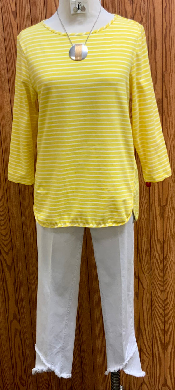Leslie Stripe Top | Round neckline  Round hemline   3/4 sleeve   Thin white stripes  Machine washable   95% cotton 5% spandex   Available in 3 colors: Ice blue, Geranium, Yellow  Small - Extra Large