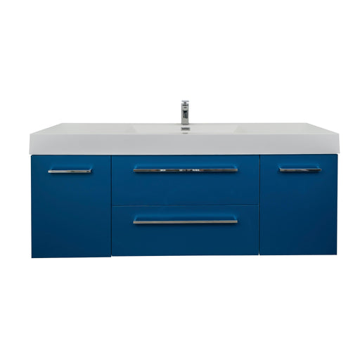 Aquamoon Maya Duo 47  Matte Blue Wall Mounted Modern Bathroom Vanity Set Cabinet