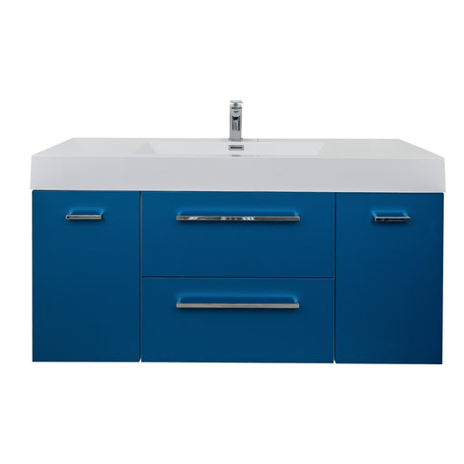 Aquamoon Maya Duo 60 Matte Blue Wall Mounted Modern Bathroom Vanity Set - Bath Trends USA