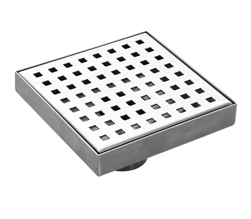 Aquamoon  Chrome Insert 4 X 4  Linear Shower Drain, 316 Stainless Steel Square With Hair Strainer