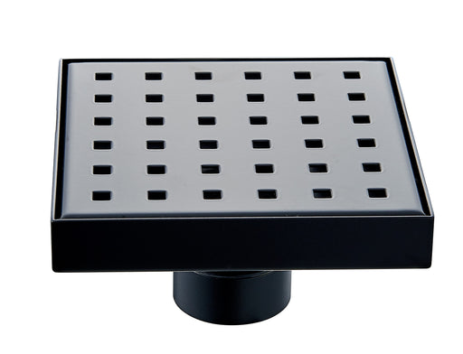 Aquamoon  Black Matte Insert 6 X 6  Linear Shower Drain, 316 Stainless Steel Square With Hair Strainer
