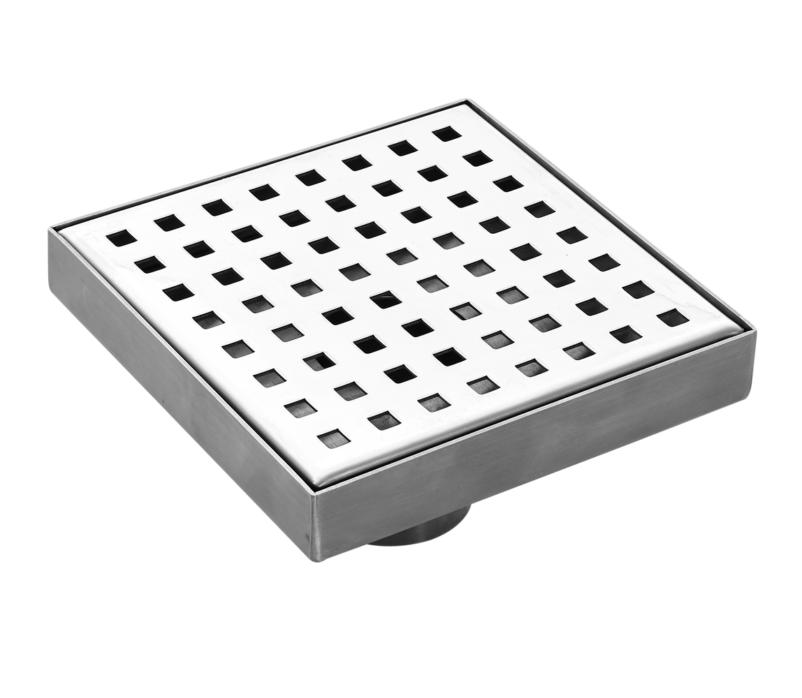 Aquamoon  Chrome Insert 6 X 6  Linear Shower Drain, 316 Stainless Steel Square With Hair Strainer