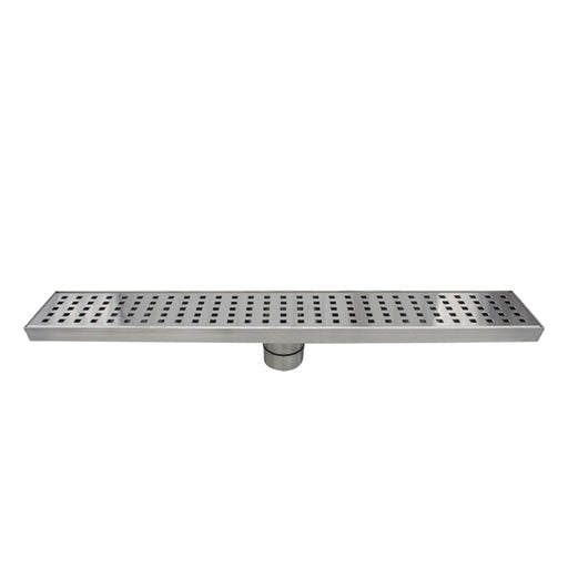 Aquamoon  Brushed Nickel Insert 24-Inch  Linear Shower Drain, 316 Stainless Steel Rectangle With Hair Strainer