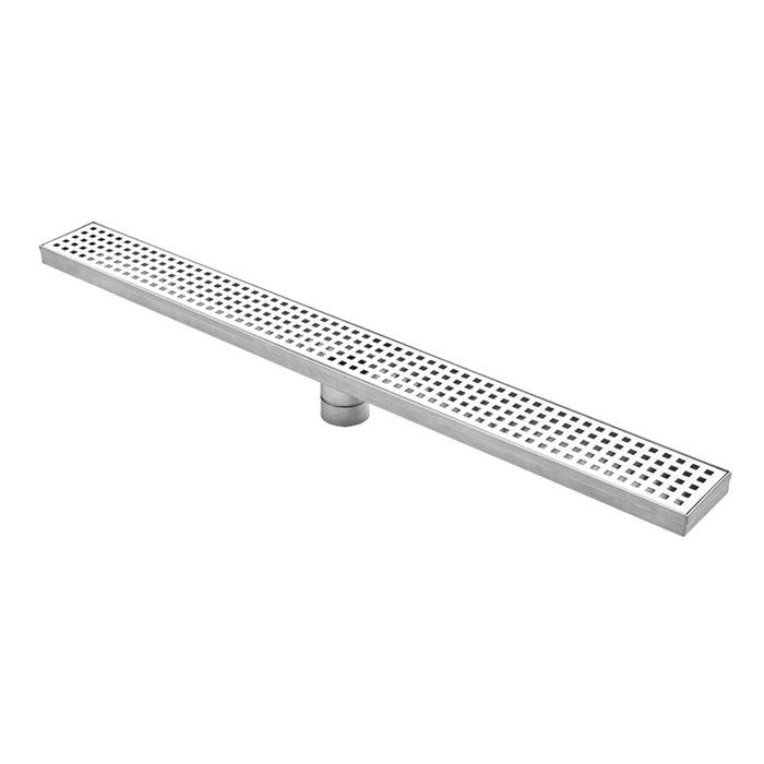 Aquamoon  Chrome Insert 32 Inch  Linear Shower Drain, 316 Stainless Steel Rectangle With Hair Strainer