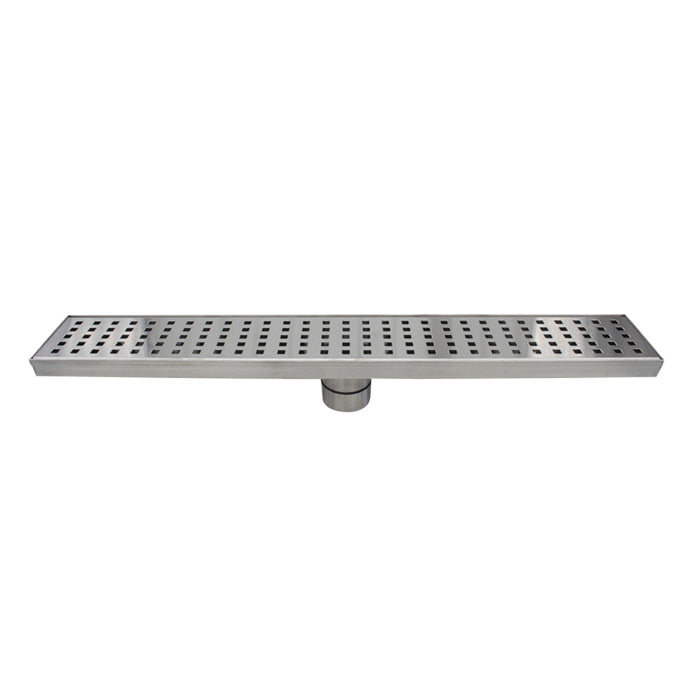 Aquamoon  Brushed Nickel Insert 32 Inch  Linear Shower Drain, 316 Stainless Steel Rectangle With Hair Strainer