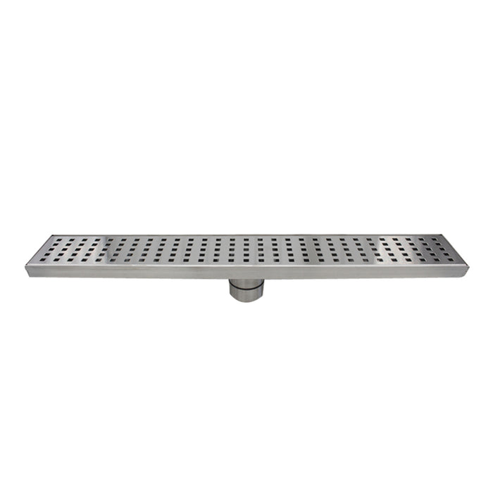 Aquamoon  Brushed Nickel Insert 48-Inch  Linear Shower Drain, 316 Stainless Steel Rectangle With Hair Strainer