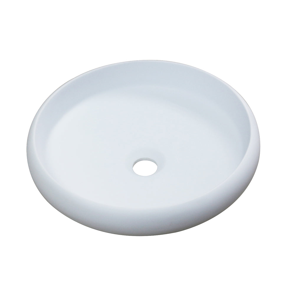 Aquamoon 1153 White  Modern Round Vessel Solid Surface 15.75 X 15.75  X 4.5