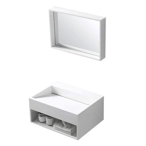 "Aquamoon Midtown 24"" Rectangular Solid Surface Wall Mounted Sink White Matte"