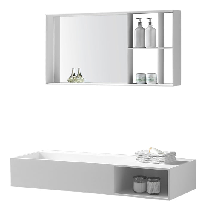 "Aquamoon Midtown 47"" Rectangular Solid Surface Wall Mounted Sink White Matte"