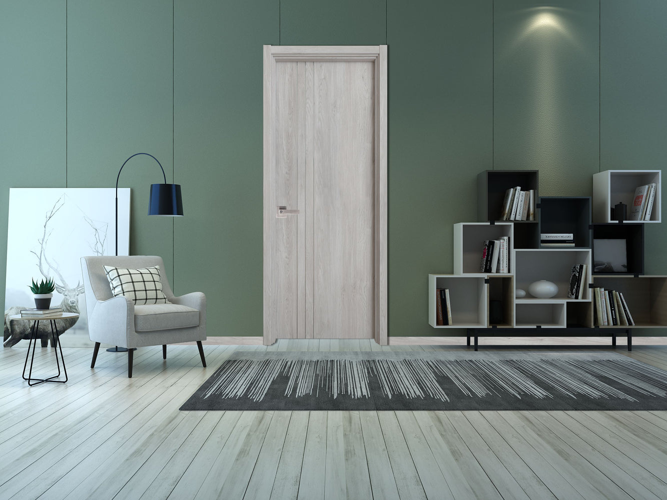 Contemporary Nature Ash Grey Interior Door Slab  Solid Core Stripes Modern Door,  Ashoak Pack 32 X 80 X 1 9/16)