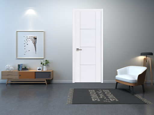 Contemporary Surface White  Interior Door Slab  Solid Core Stripes Modern Door,  White Pack 28 X 80 X 1 9/16)