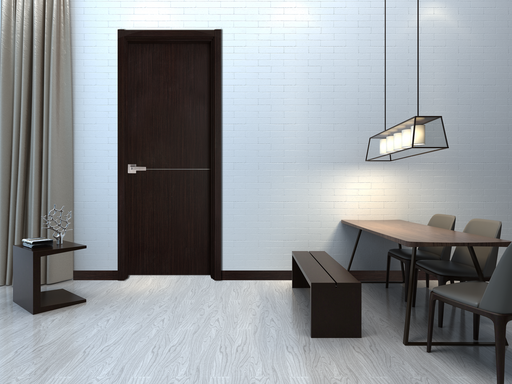 Contemporary Verona Interior Door ( Slab + Frame + Moulding + Hinches) Solid Core Stripes Modern Door,  Wenge Pack 28 X 80 X 1 9/16)