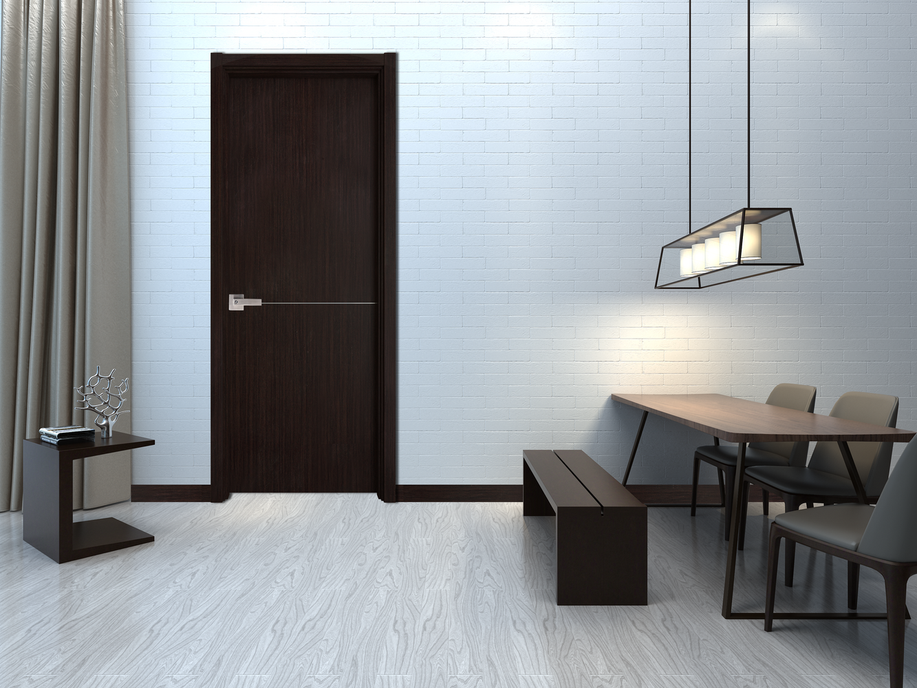 Contemporary Verona Interior Door ( Slab + Frame + Moulding + Hinches) Solid Core Stripes Modern Door, Wenge Pack 32 X 94.5 X 1 9/16)