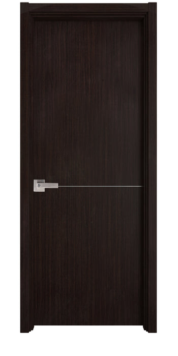 Contemporary Verona Interior Door ( Slab + Frame + Moulding + Hinches) Solid Core Stripes Modern Door,  Wenge Pack 28 X 94.5 X 1 9/16)