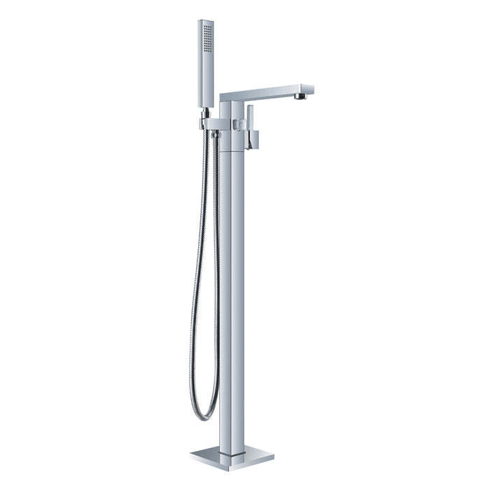Aquamoon Atlas Chrome Freestanding Bathtub Faucet Tub Filler Floor Mount Single Handle With Hand Shower