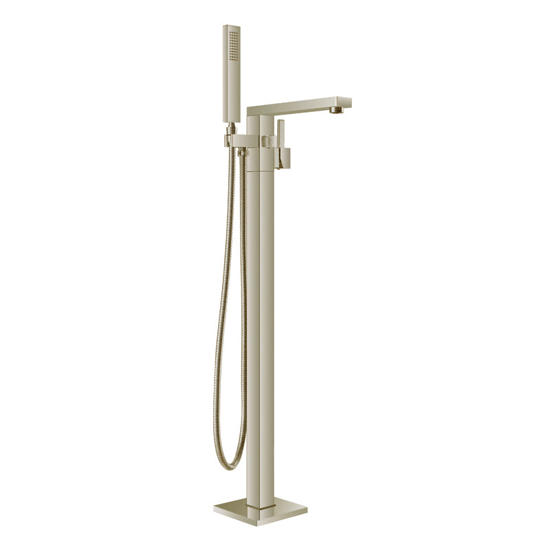 Aquamoon Atlas Brushed Nickel  Freestanding Bathtub Faucet Tub Filler Floor Mount Single Handle With Hand Shower