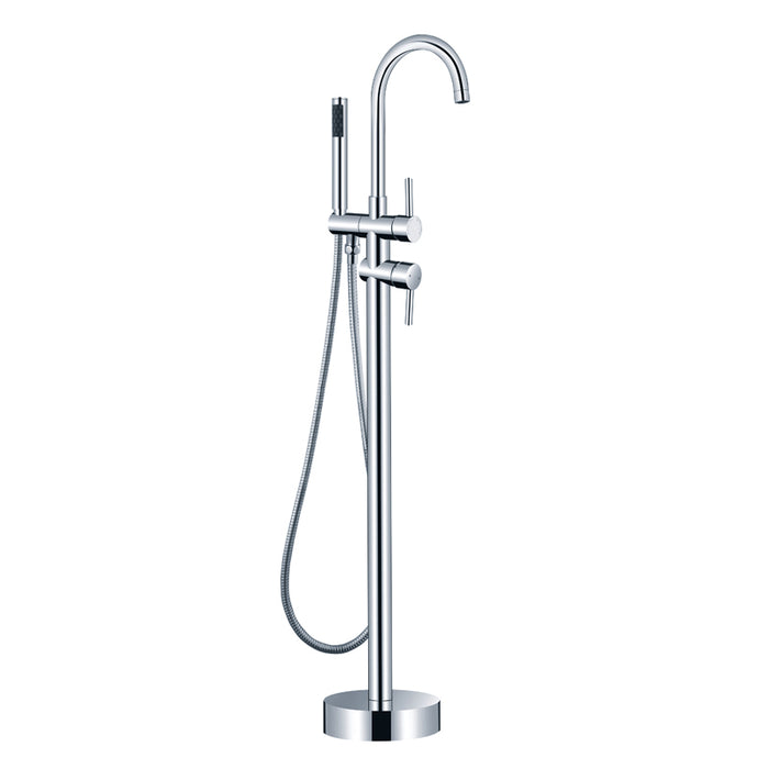 Aquamoon Mia Chrome Freestanding Bathtub Faucet Tub Filler Floor Mount Single Handle With Hand Shower