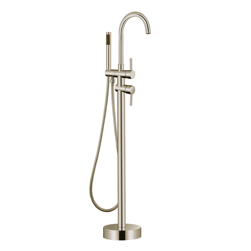 Aquamoon Mia Brushed Nickel Freestanding Bathtub Faucet Tub Filler Floor Mount Single Handle With Hand Shower
