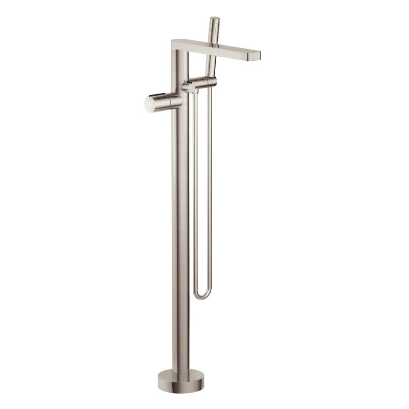 Aquamoon Barcelona Brushed Nickel Freestanding Bathtub Faucet Tub Filler Floor Mount Single Handle With Hand Shower