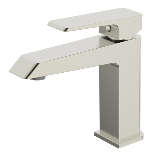 Aquamoon Cubic Single Hole Mount Bathroom Vanity Faucet Brushed Nickel Finished