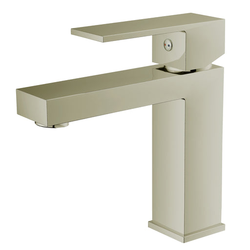 Aquamoon Milan Single Hole Mount Bathroom Vanity Faucet Brushed Nickel Finish