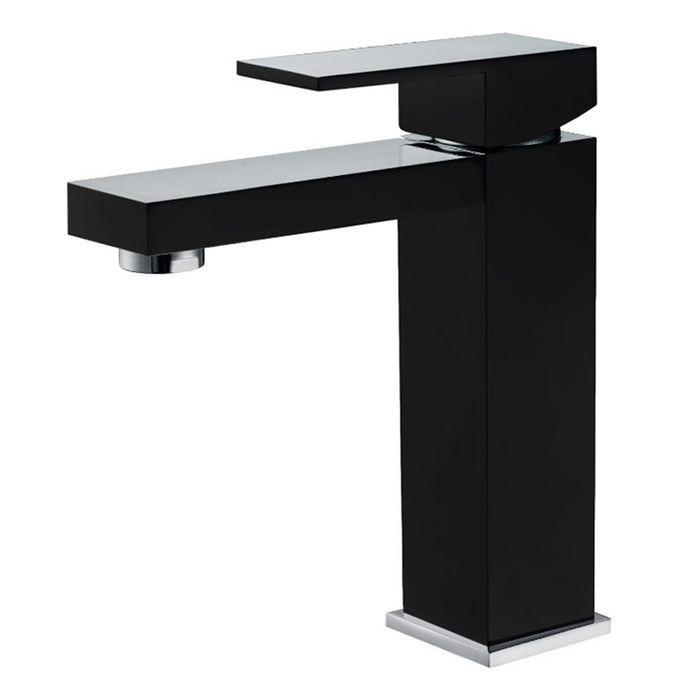 Aquamoon Milan Single Hole Mount Bathroom Vanity Faucet Black Finish