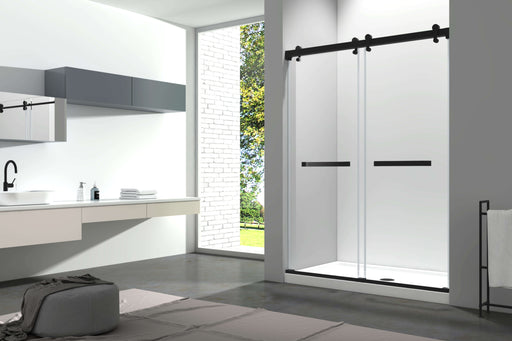 "Aquamoon Lucca Semi- Frameless Bypass Black Sliding Shower Door   60 ""X 76"" Clear Tempered Glass, Chrome"