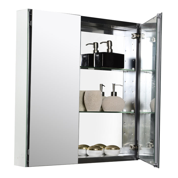 "Aquamoon Mm20 Frameless 25"" X26"" Bathroom Medicine Cabinet Recess Or Wall Mounted Installation"