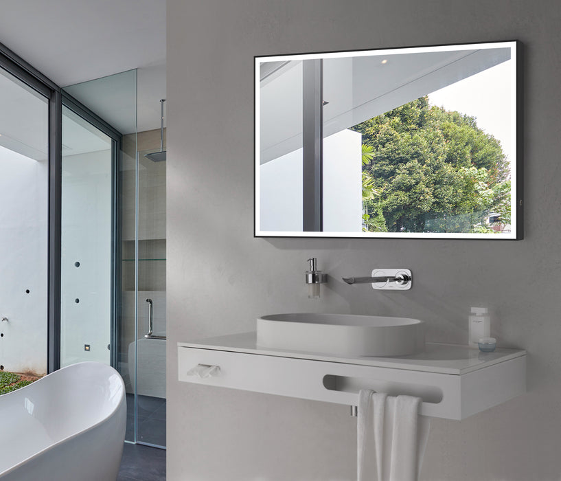 "Aquamoon 257501 Led Bathroom Mirror 31"" X 27.5"" Wall Mounted Side Switch 6000K High Lumen With Anti-Fog"