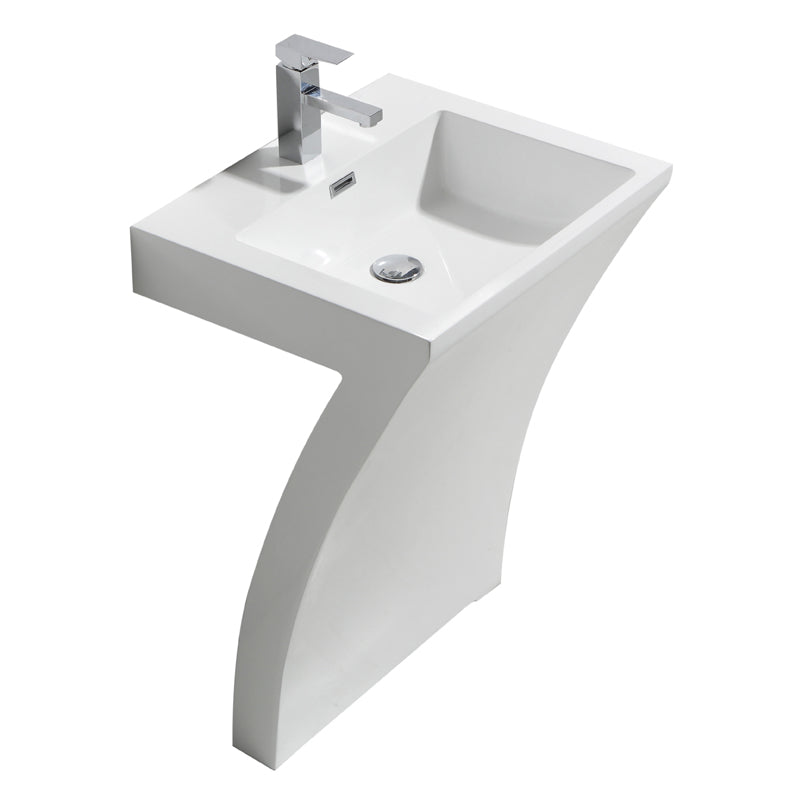 "Aquamoon Radious 23.5""  Modern Pedestal Bathroom Sink With Single Hole Faucet And Overflow"