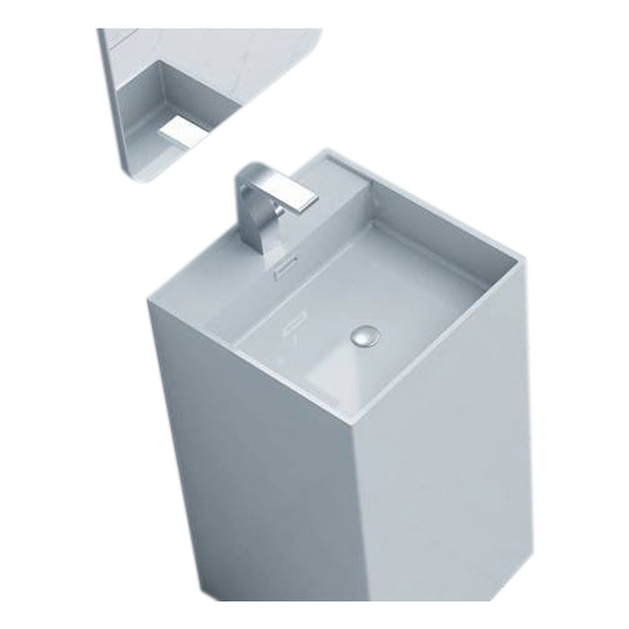 "Aquamoon Squadra 18.5""  Modern Pedestal Bathroom Sink With Single Hole Faucet And Overflow"