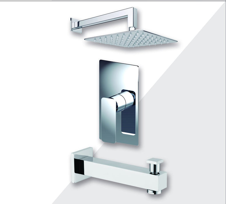 "Aquamoon Axo Chrome Shower With Tub Spout And 8"" Rain Shower Head, Wall Mounted Arm + Rough In + Trim Included Setaxo10821"
