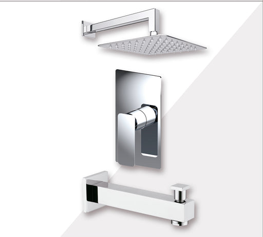 "Aquamoon AXO Chrome Shower with Tub Spout and 8"" Rain Shower Head, Wall Mounted Arm + Rough in + Trim Incluided SETAXO10821"
