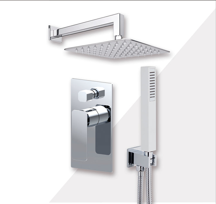 "Aquamoon AXO Chrome Bathroom Modern Rain Mixer Shower Combo Set Wall Mounted Rainfall Shower Head 8"" + Rough in + Trim Incluided + Handheld SETAXO10831 - Bath Trends USA"