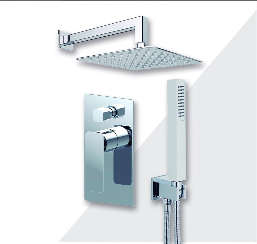 "Aquamoon Axo Chrome  Bathroom Modern Rain Mixer Shower Combo Set Wall Mounted Rainfall Shower Head 8"" + Rough In + Trim Included + Handheld Setaxo10831"