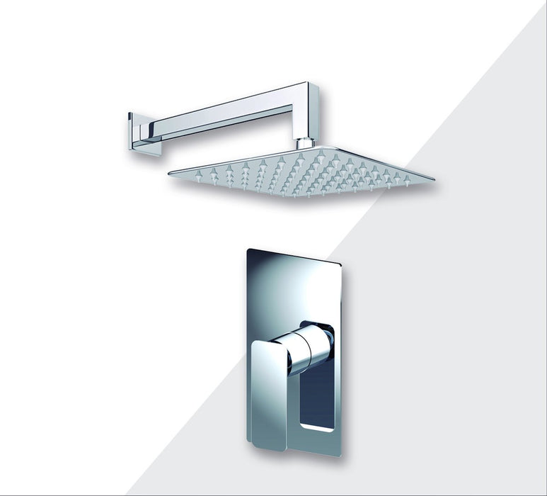 "Aquamoon Axo Brushed Nickel   Bathroom Modern Rain Mixer Shower Combo Set Wall Mounted Rainfall Shower Head 12"" + Rough In + Trim Included Setaxo11211"