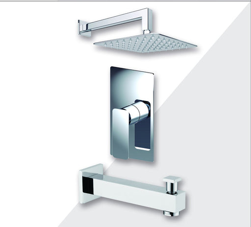 "Aquamoon Axo Chrome Shower With Tub Spout And 12"" Rain Shower Head, Wall Mounted Arm + Rough In + Trim Included Setaxo11221"