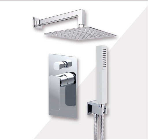 "Aquamoon AXO Chrome Bathroom Modern Rain Mixer Shower Combo Set Wall Mounted Rainfall Shower Head 12"" + Rough in + Trim Incluided + Handheld SETAXO11231"