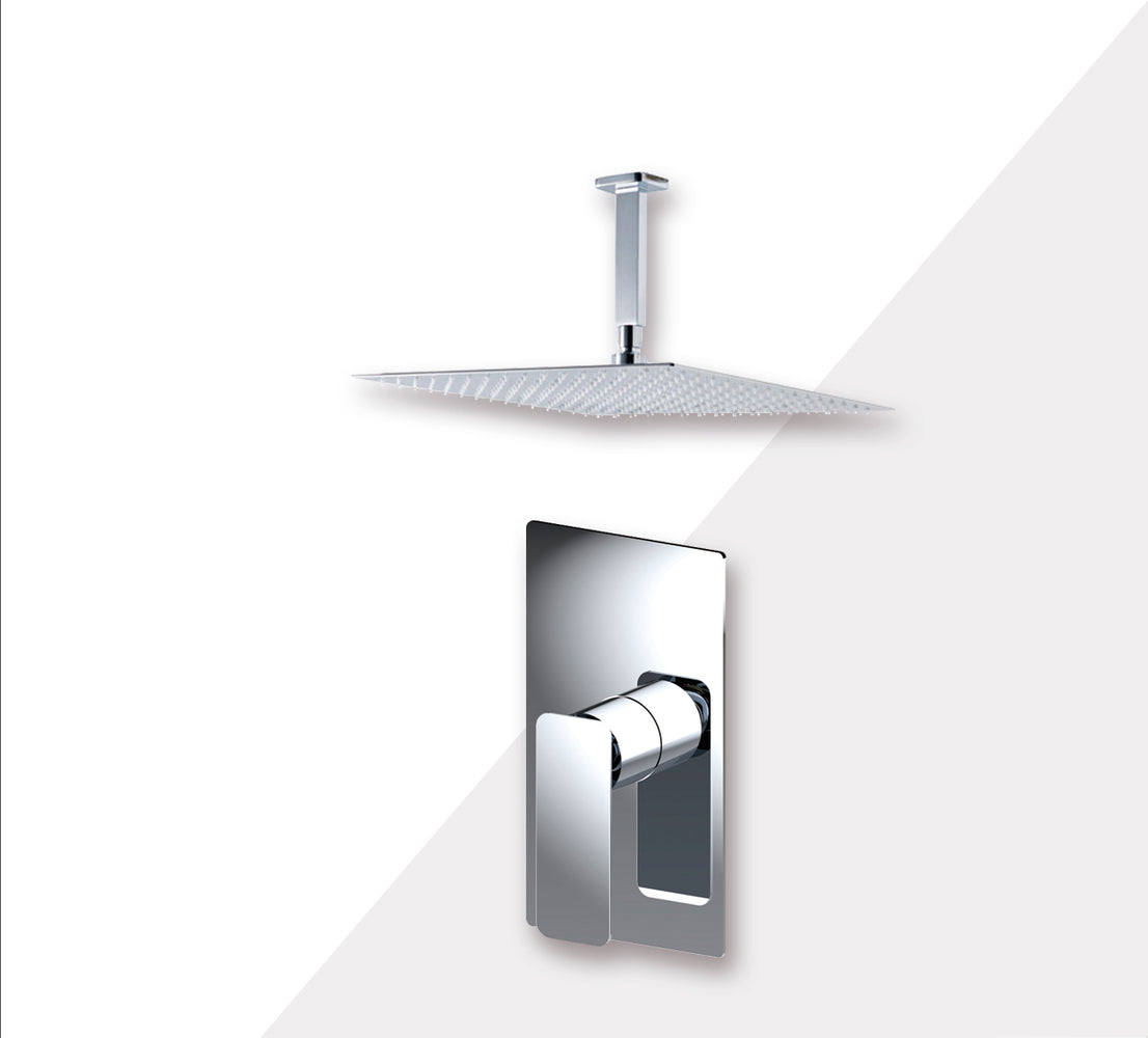 "Aquamoon AXO Chrome  Bathroom Modern Rain Mixer Shower Combo Set Ceiling Arm Mounted + Rainfall Shower Head 8"" + Rough in + Trim Incluided SETAXO20811"