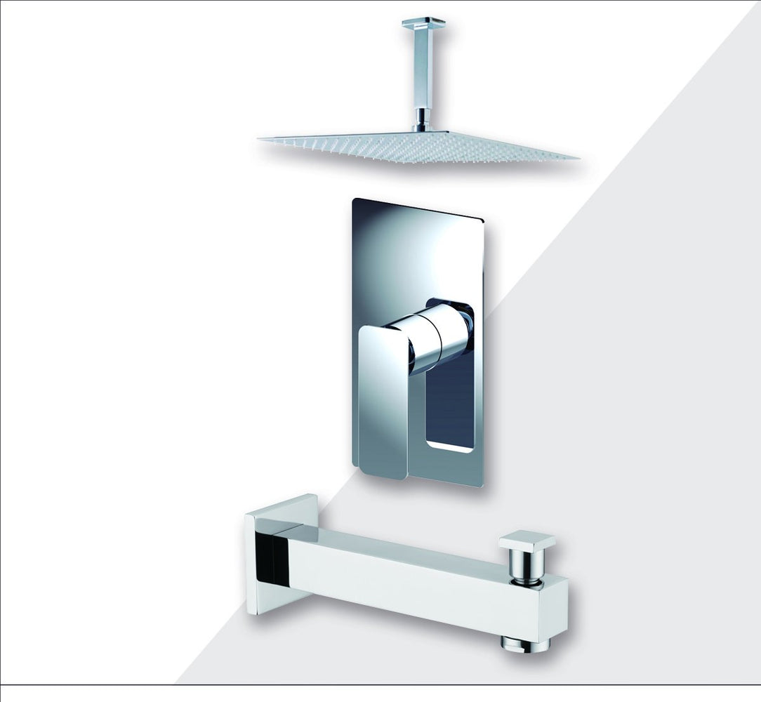 "Aquamoon Axo Chrome Shower With Tub Spout And 8"" Rain Shower Head, Ceiling Mounted Arm + Rough In + Trim Included Setaxo20821"