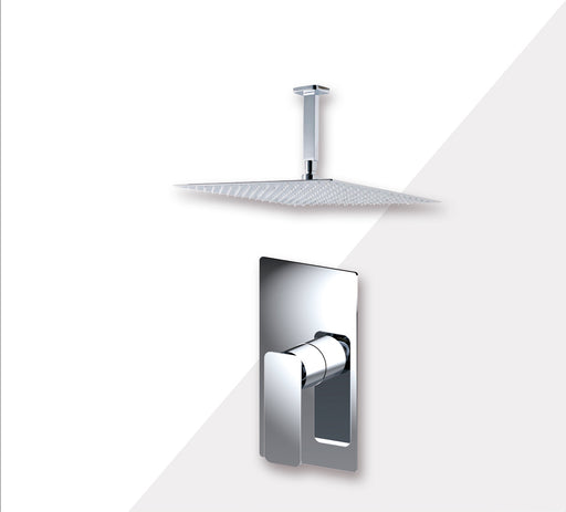 "Aquamoon AXO Chrome  Bathroom Modern Rain Mixer Shower Combo Set Ceiling Arm Mounted + Rainfall Shower Head 12"" + Rough in + Trim Incluided SETAXO201211"