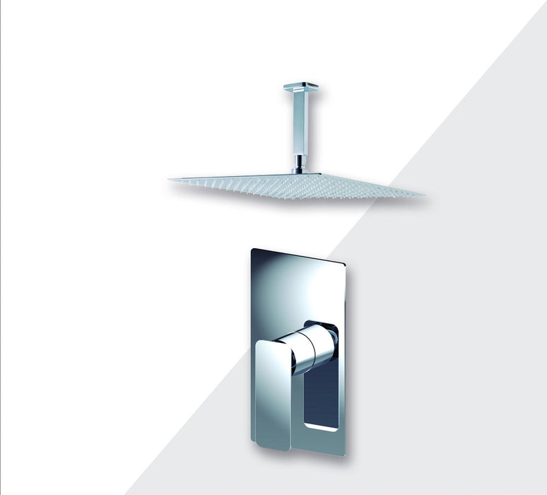 "Aquamoon Axo Chrome  Bathroom Modern Rain Mixer Shower Combo Set Ceiling Arm Mounted + Rainfall Shower Head 12"" + Rough In + Trim Included Setaxo201211"