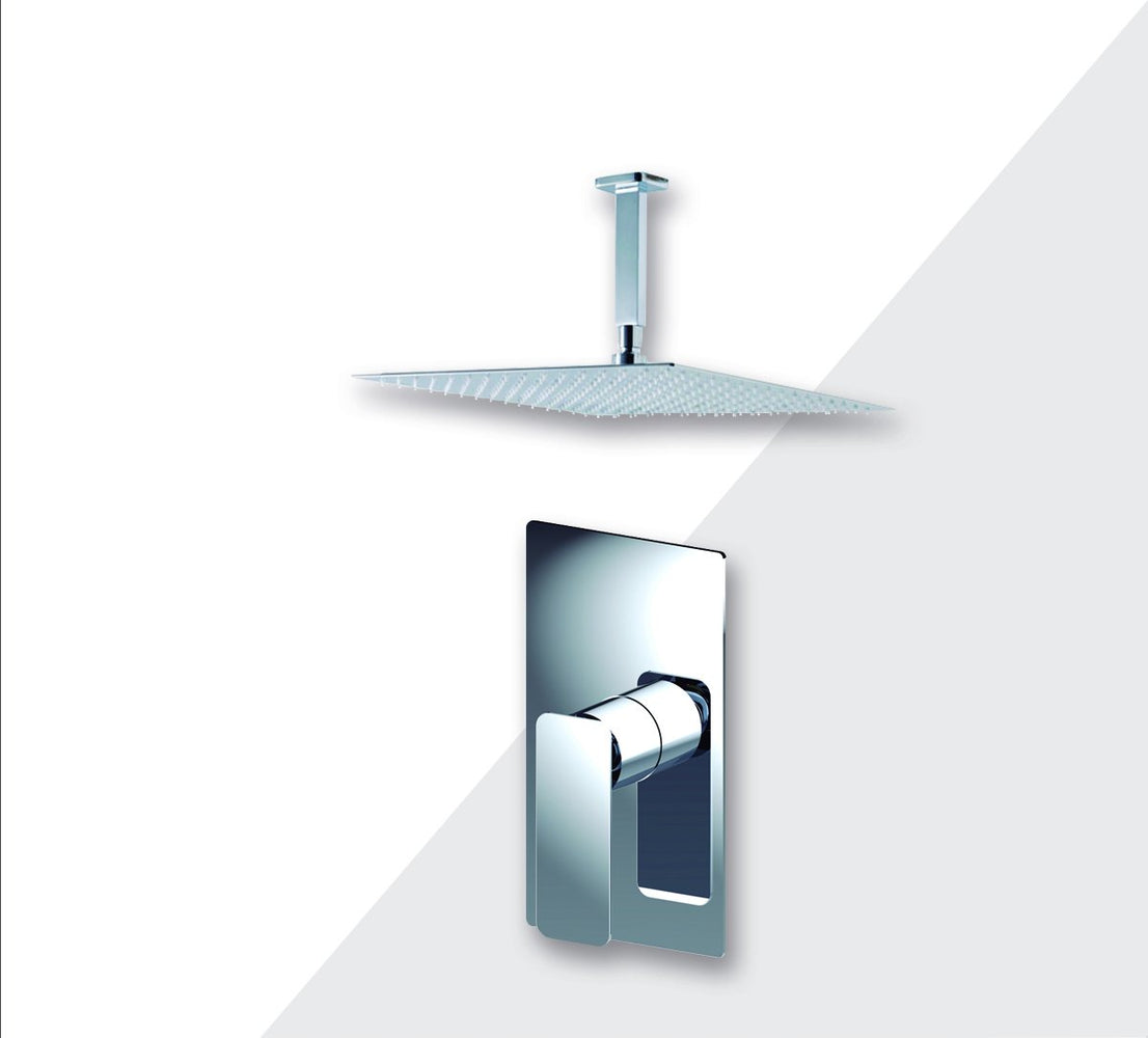 "Aquamoon Axo Brushed Nickel  Bathroom Modern Rain Mixer Shower Combo Set Ceiling Arm Mounted + Rainfall Shower Head 12"" + Rough In + Trim Included Setaxo21211"